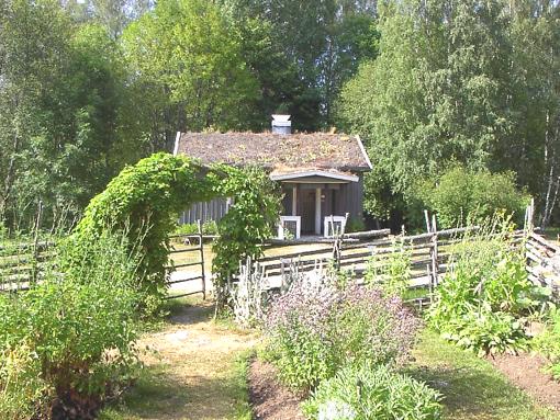 Örtagården med undantagsstugan i bakgrunden